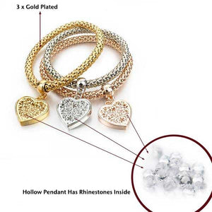 """Rhinestone Heart"" Bracelet (Buy 1 Get 2 FREE!) - Blown Biker - 6"