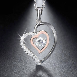 "925 Sterling Silver ""Double Heart"" Pendant Necklace - Blown Biker - 1"