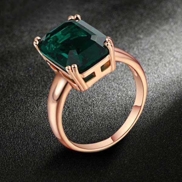 "18k Rose Gold Plated ""Big Emerald"" Ring Blown Biker"