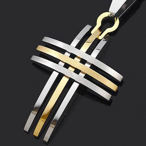 "316L Stainless Steel ""Silver And Gold"" Cross Necklace - Blown Biker - 4"