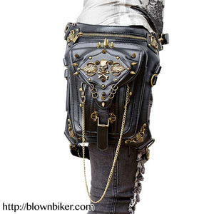 "Steampunk ""Skull & Crossbones"" Womens Hip Bag - Blown Biker - 1"