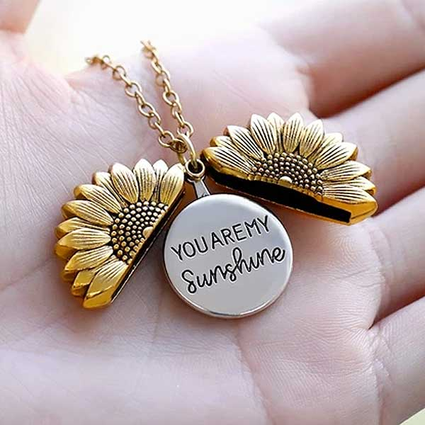 """You Are My Sunshine"" Secret Sunflower Necklace - Blown Biker - 1"