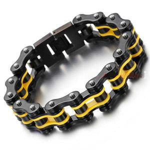 "316L Stainless Steel ""Black & Yellow"" Bracelet - Blown Biker - 1"