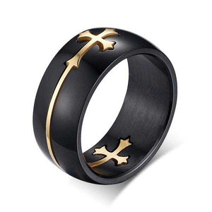 "18k Gold Plated ""Moveable Cross"" Ring"
