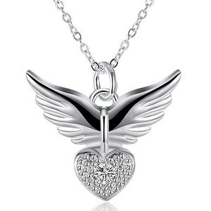 "925 Sterling Silver ""Zirconia Charm"" Angel Wings Necklace - Blown Biker - 5"