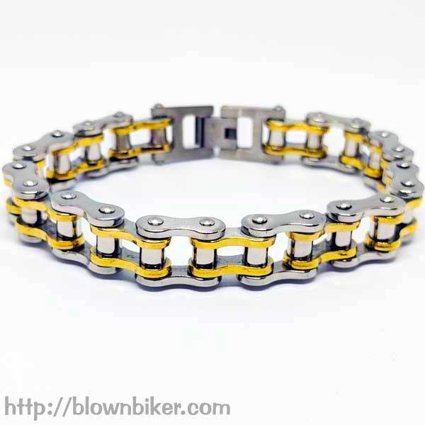"316L Stainless Steel ""Gold Link"" Bracelet - Blown Biker - 1"