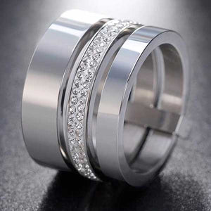 "316L Stainless Steel ""Triple Band"" Cubic Zircon Ring"