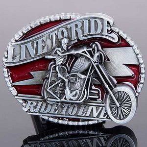 "Live To Ride ""Ghost Rider"" Metal Belt Buckle - Blown Biker - 1"