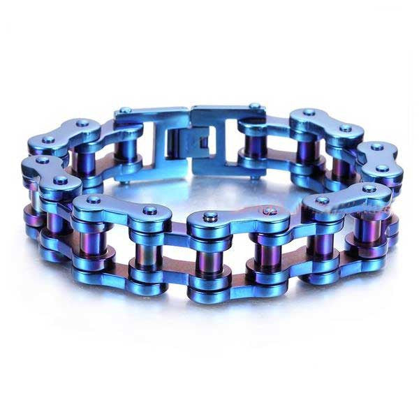 "316L Stainless Steel ""Blue & Purple"" Bracelet - Blown Biker - 1"