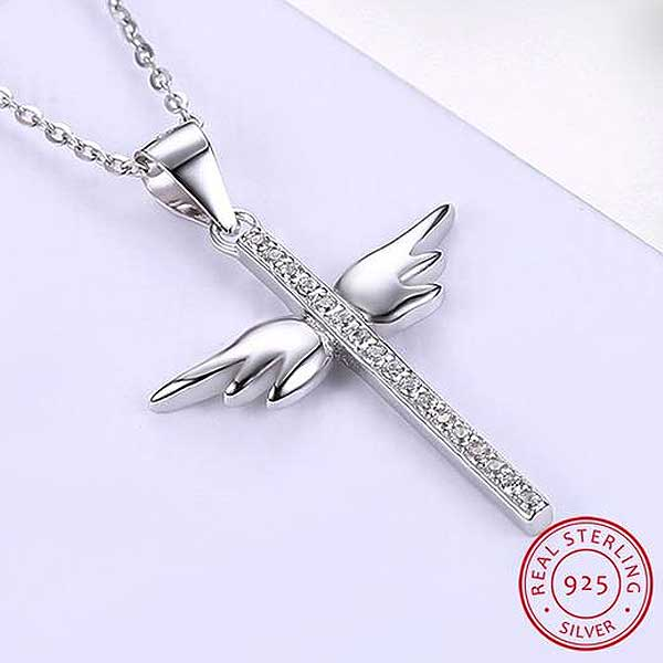 "925 Sterling Silver ""Angel Wings Cross"" Pendant Necklace - Blown Biker - 1"