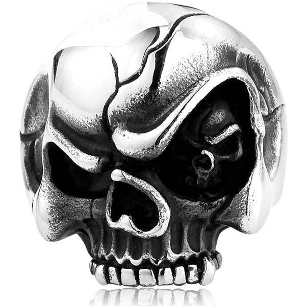 "316L Stainless Steel ""Evil Eye Skull"" Ring - Blown Biker - 6"