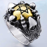 "316L Stainless Steel ""Copper Hexagram"" Ring - Blown Biker - 1"
