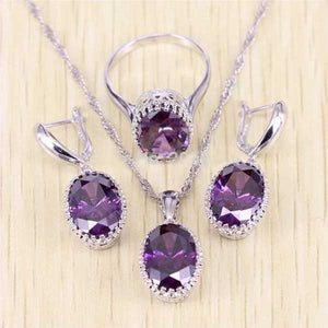 925 Sterling Silver Purple Amethyst Jewelry Set