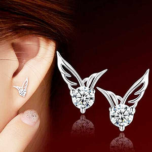 "925 Sterling Silver ""Big Zirconia"" Angel Wings Earrings - Blown Biker - 1"