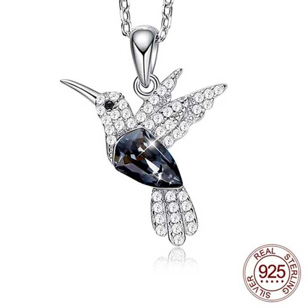 "925 Sterling Silver ""Little Bird"" Luxury Hummingbird Pendant Necklace - Blown Biker - 2"