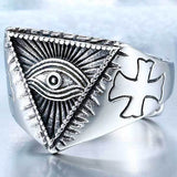 "316L Stainless Steel ""All-Seeing Eye"" Ring - Blown Biker - 1"