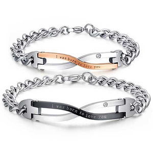 "316L Stainless Steel His & Hers ""Born To Love You"" Bracelets - Blown Biker - 1"