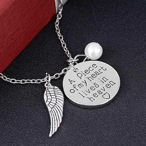 """A Piece Of My Heart Lives In Heaven"" Angel Wings Necklace - Blown Biker - 1"