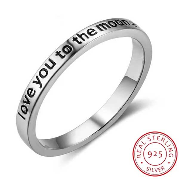 "925 Sterling Silver ""I Love You To The Moon And Back"" Ring - Blown Biker - 1"