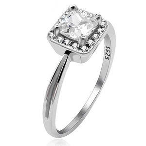 "925 Sterling Silver ""Big Square"" Cubic Zirconia Ring - Blown Biker - 1"