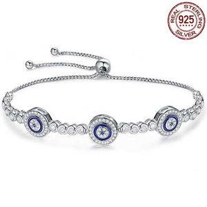 "925 Sterling Silver ""Blue Eyes"" Womens Bracelet - Blown Biker - 1"
