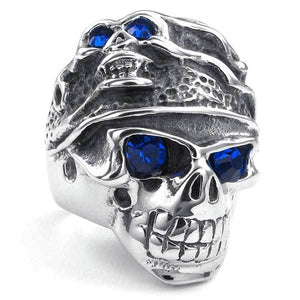 "316L Stainless Steel ""Blue Zircon Skull"" Ring - Blown Biker - 1"