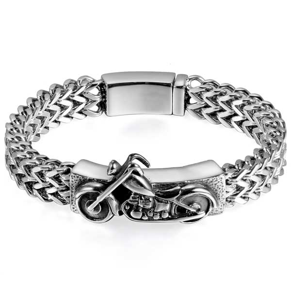 "316L Stainless Steel ""Biker"" Bracelet - Blown Biker - 4"