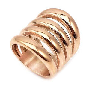 "Rose Gold ""Wide Biker"" Womens Ring - Blown Biker - 1"