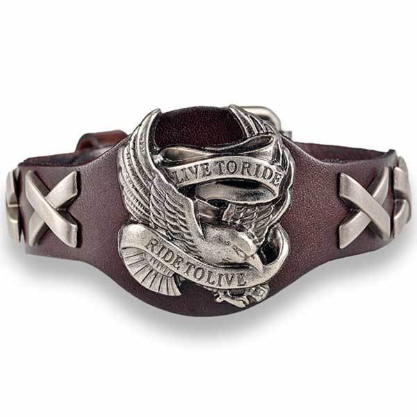 "Genuine Leather ""Live To Ride"" Bracelet - Blown Biker - 2"
