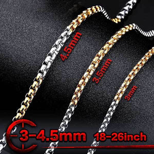 "316L Stainless Steel ""Half-Plate"" Chain Necklace - Blown Biker - 4"