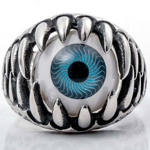 "316L Stainless Steel ""Fanged Eye"" Ring - Blown Biker - 1"