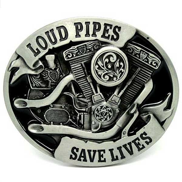 """Loud Pipes Save Lives"" Metal Belt Buckle - Blown Biker - 1"