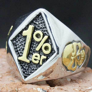 "316L Stainless Steel ""1% ER Biker"" Ring - Blown Biker - 1"