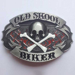 """Old Skool Biker"" Metal Belt Buckle - Blown Biker - 1"