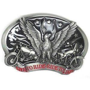 "Live To Ride ""Eagle Biker"" Metal Belt Buckle - Blown Biker - 1"