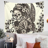 "Microfiber ""Winged Skull & Roses"" Wall Tapestry - Blown Biker - 1"