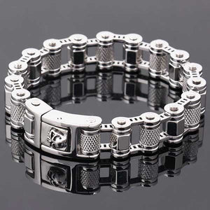 "316L Stainless Steel ""Turned Steel"" Biker Bracelet - Blown Biker - 1"