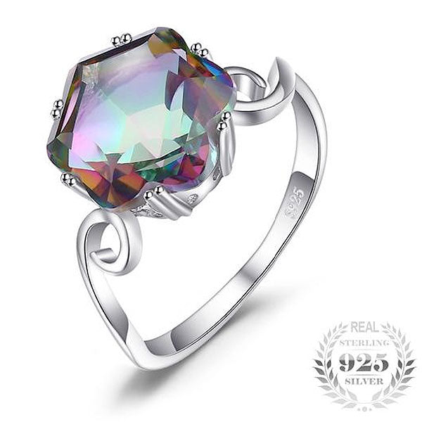 "925 Sterling Silver ""Rainbow Fire"" Gemstone Womens Ring - Blown Biker - 1"