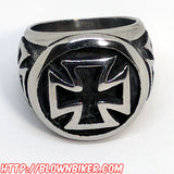 "316L Stainless Steel ""Iron Cross"" Ring - Blown Biker - 2"