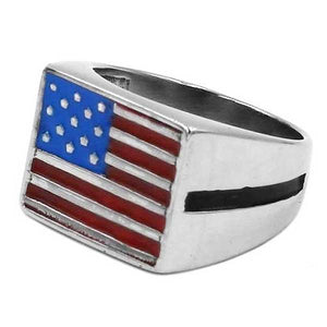 "316L Stainless Steel ""American Flag"" Ring - Blown Biker - 1"