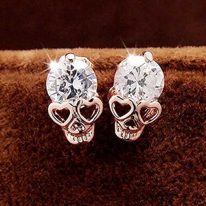 "18K Gold Plated ""Heart Shaped Skull"" Earrings - Blown Biker - 1"