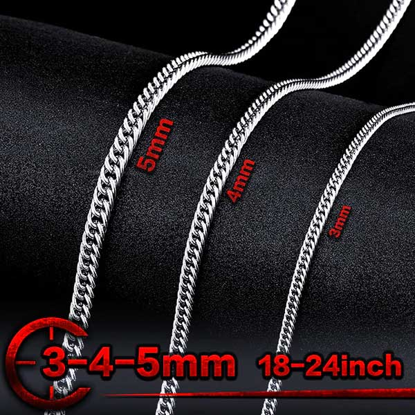 "316L Stainless Steel ""Flat Chain"" Necklace - Blown Biker - 1"