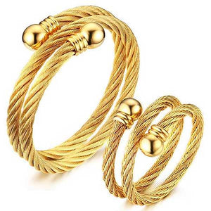 "Gold Plated 316L Stainless Steel ""Twisted Cuff"" Ring/Bracelet Set - Blown Biker - 1"