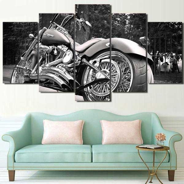 "5 Piece ""Harley Davidson"" Printed Wall Canvas Set - Blown Biker - 2"