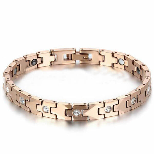 Luxury Rose Gold Tungsten Bracelet - inlaid with Magnetic Energy Stones