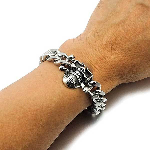 "316L Stainless Steel ""Biker Skull"" Chain Bracelet - Blown Biker - 2"