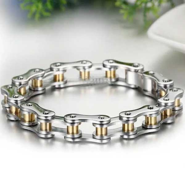 316L Stainless Steel Biker Chain Bracelet w/ Gold/Black Pins - Blown Biker - 1