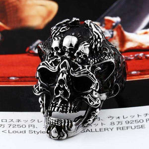 "316L Stainless Steel ""Dark Skull"" Ring - Blown Biker - 1"