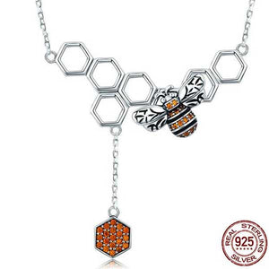 "925 Sterling Silver ""Honeycomb"" Pendant Necklace - Blown Biker - 1"