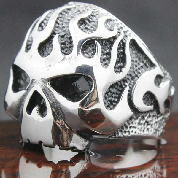 "316L Stainless Steel Biker ""Flame Skull"" Ring - Blown Biker - 4"